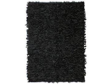 Tapis shaggy Cuir véritable 190 x 280 cm Noir - vidaXL