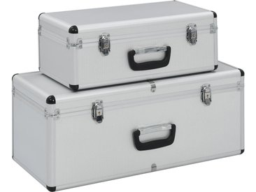 Boîtes de rangement 2 pcs Argenté Aluminium  - vidaXL