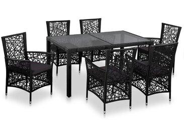 Mobilier à dîner d'extérieur 7 pcs Résine tressée Noir - vidaXL
