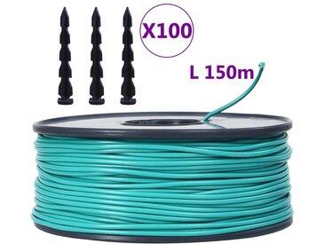 Câble périphérique de tondeuse à gazon 150 m avec 100 chevilles - vidaXL