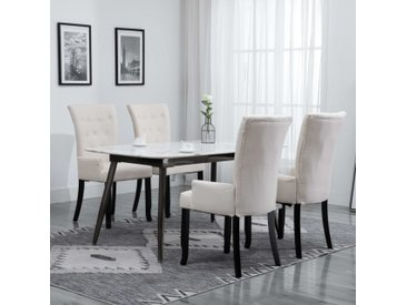 Chaise de salle à manger avec accoudoirs 4 pcs Beige Tissu - vidaXL
