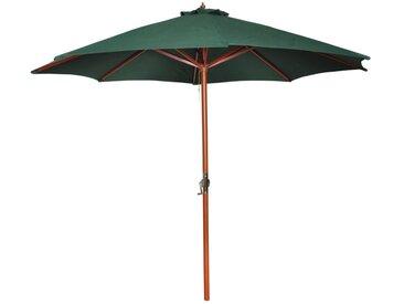 Parasol sur pied toile verte & bois 258 cm - vidaXL