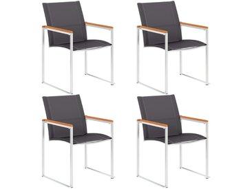 Chaises de jardin 4 pcs Textilène et acier inoxydable Gris - vidaXL