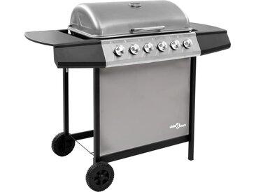Barbecue gril à gaz avec 6 brûleurs Noir et argenté - vidaXL