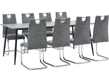Ensemble de salle à manger 9 pcs Gris Similicuir - vidaXL