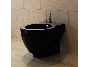 Bidet rond à poser en céramique sanitaire noir - vidaXL