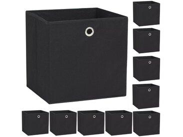 Boîte de rangement 10 pcs Tissu non-tissé 32 x 32 x 32 cm Noir - vidaXL