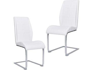 Chaises de salle à manger cantilever 2 pcs Blanc Tissu - vidaXL