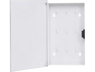 Boîte à clés avec panneau magnétique Blanc 30x20x5,5 cm - vidaXL