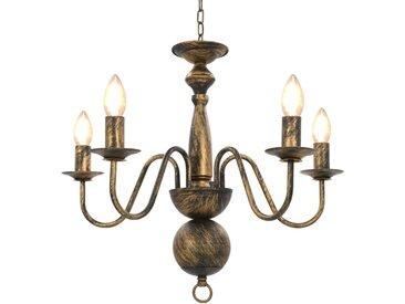 Lustre Noir antique 5 ampoules E14 - vidaXL