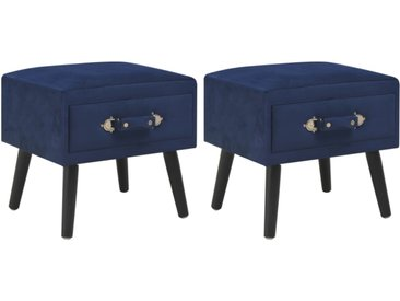 Tables de chevet 2 pcs Bleu 40x35x40 cm Velours - vidaXL