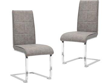 Chaises de salle à manger cantilever 2pcs Gris clair Similicuir - vidaXL