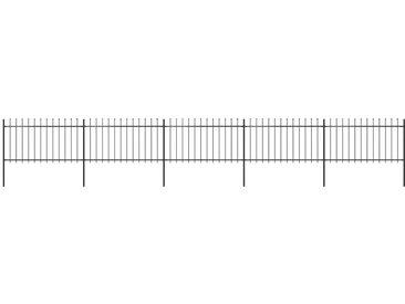 Clôture de jardin avec dessus en lance Acier 8,5x1 m Noir - vidaXL