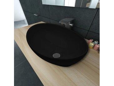 Lavabo ovale Céramique 40 x 33 cm Noir - vidaXL