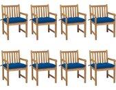 Chaises de jardin 8 pcs avec coussins bleu Bois de teck solide - vidaXL