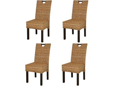 Chaise de salle à manger 4 pcs Rotin Kubu Bois de manguier - vidaXL