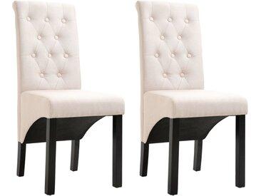 Chaises de salle à manger 2 pcs Crème Tissu - vidaXL