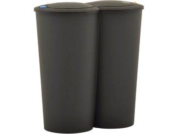 Poubelle double à ordures 50 L Noir - vidaXL