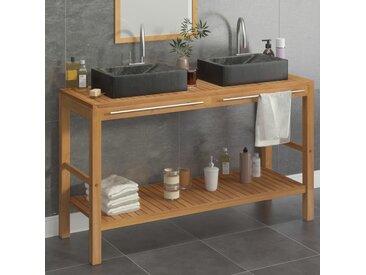 Armoire de toilette en teck solide avec lavabos en marbre Noir - vidaXL