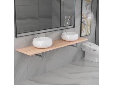 Meuble de salle de bain à 3 pcs Céramique Chêne - vidaXL