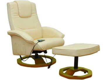 Fauteuil de massage avec repose-pied Crème Similicuir - vidaXL