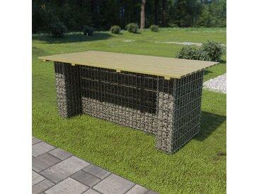 Table de jardin avec gabion d'acier 180x90x74 cm Bois de pin - vidaXL