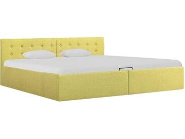Cadre de lit à stockage hydraulique Jaune lime Tissu 180x200 cm  - vidaXL