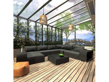 Mobilier de jardin 10 pcs avec coussins Résine tressée Noir - vidaXL