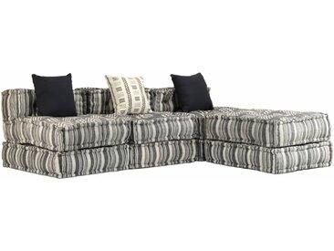 Canapé modulaire à 3 places Tissu Rayure - vidaXL