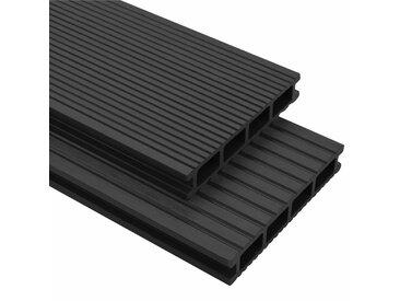 Panneaux de terrasse WPC avec accessoires 40m² 2,2m Anthracite   - vidaXL