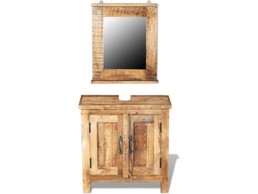 Meuble de salle de bain avec miroir Bois massif de manguier - vidaXL