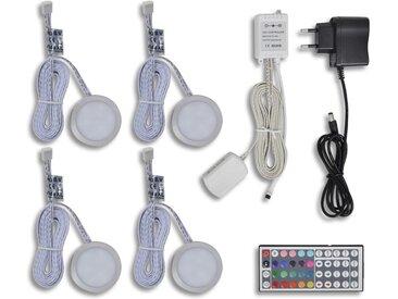 Kit de 4 Spots LED RGB avec télécommande  - vidaXL