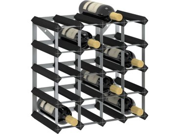 Casier à bouteilles pour 20 bouteilles Noir Bois de pin solide - vidaXL