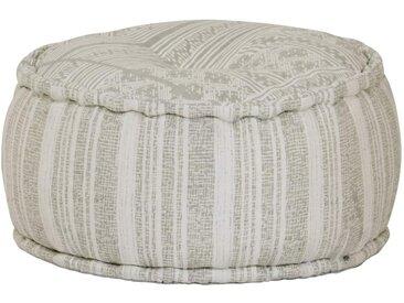 Pouf rond en coton avec motif fait à la main 50 x 25 cm Vert - vidaXL