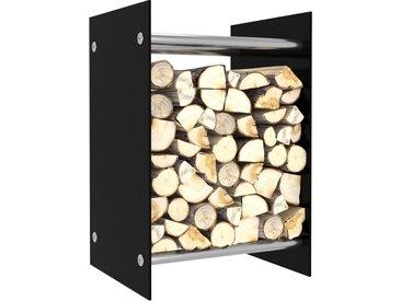 Portant de bois de chauffage Noir 40x35x60 cm Verre - vidaXL