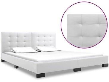 Cadre de lit Blanc Similicuir 160x200 cm - vidaXL