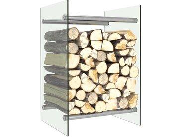 Portant de bois de chauffage Transparent 40x35x60 cm Verre - vidaXL