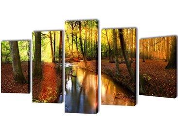 Set de toiles murales imprimées Forêt 200 x 100 cm - vidaXL