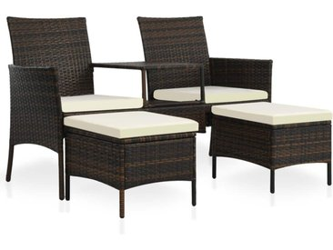 Canapé de jardin table à thé et tabourets Résine tressée Marron - vidaXL