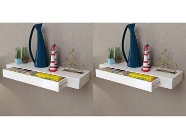 Étagères murales avec tiroirs 2 pcs Blanc 80 cm - vidaXL