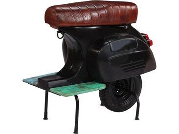 Chaise de bar scooter Noir Cuir véritable et bois recyclé - vidaXL