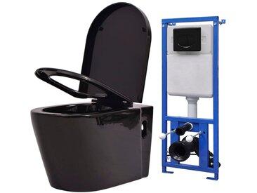 Toilette suspendue au mur avec réservoir caché Céramique Noir - vidaXL