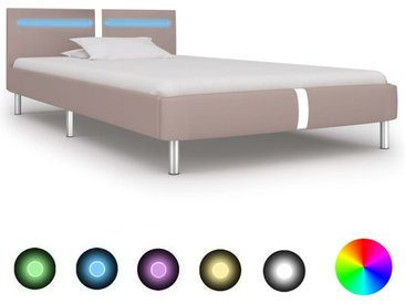 Cadre de lit avec LED Cappuccino Similicuir 90 x 200 cm - vidaXL