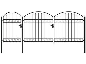 Portail de jardin avec dessus arqué Acier 2 x 4 m Noir - vidaXL