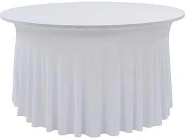 Nappes élastiques de table avec jupon 2 pcs 150x74 cm Blanc - vidaXL