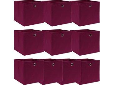 Boîtes de rangement 10 pcs Rouge foncé 32x32x32 cm Tissu - vidaXL