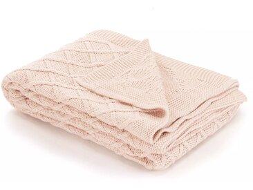 Couverture tricotée Coton 130 x 171 cm Design tartan Rose - vidaXL