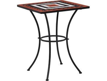 Table de bistro mosaïque Terre cuite et blanc 60 cm Céramique - vidaXL