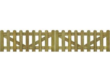 Portail de clôture à piquets 2 pcs 300x60 cm Bois imprégné FSC - vidaXL