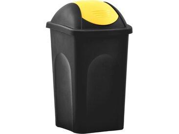 Poubelle avec couvercle pivotant 60 L Noir et jaune - vidaXL